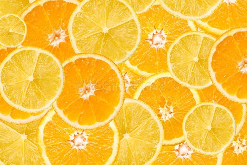 Orangen-und Zitronen-Scheiben-Zusammenfassung lizenzfreies stockfoto