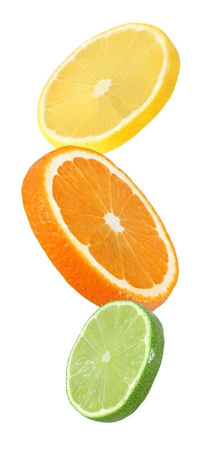 Orangen-, Zitronen- und Kalkfrüchte, die Stück hängen, fallen und fliegen lizenzfreie stockbilder
