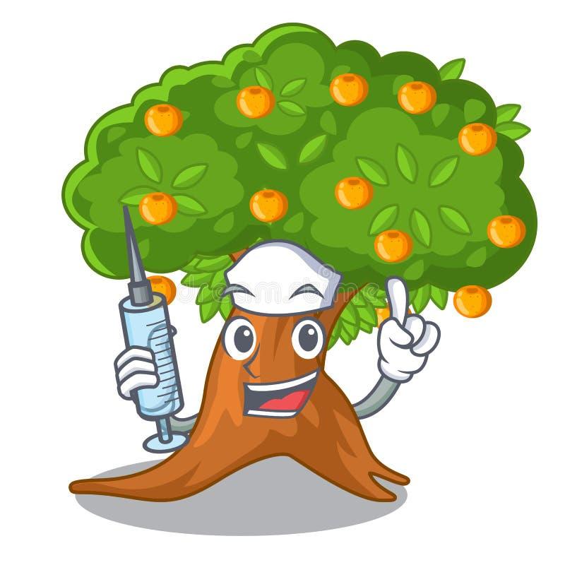 Orangenbaum der Krankenschwester in der Zeichenform vektor abbildung