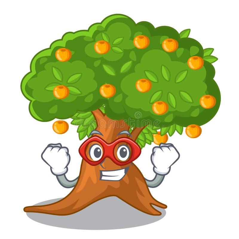 Orangenbaum des Superhelden in der Zeichenform stock abbildung