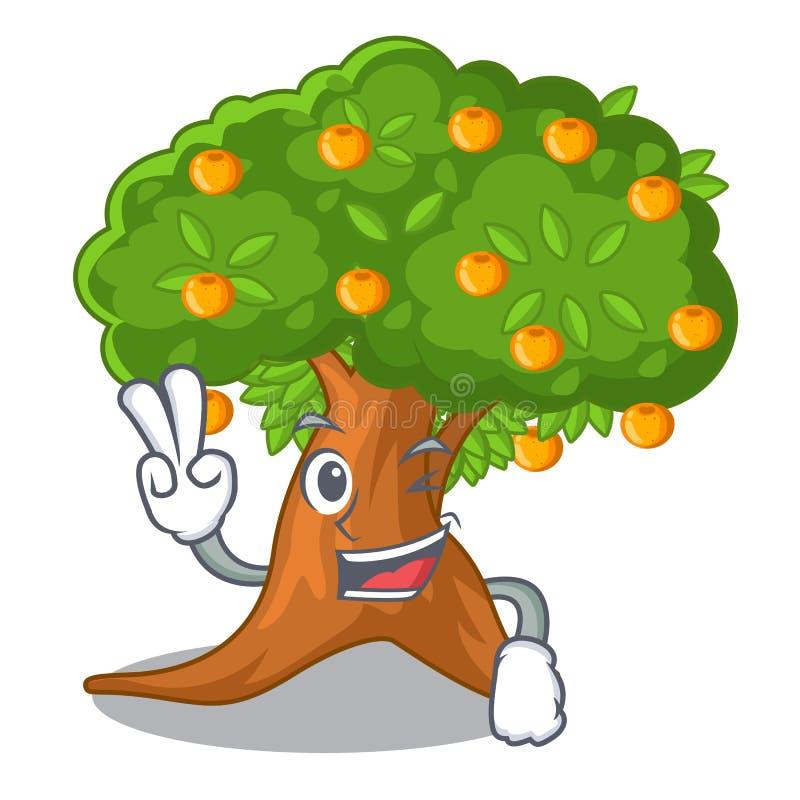 Orangenbaum mit zwei Fingern in der Zeichenform vektor abbildung