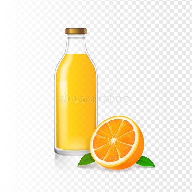 Orangensaft in der Glasflasche und im realistischen orange weißen Hintergrund stock abbildung