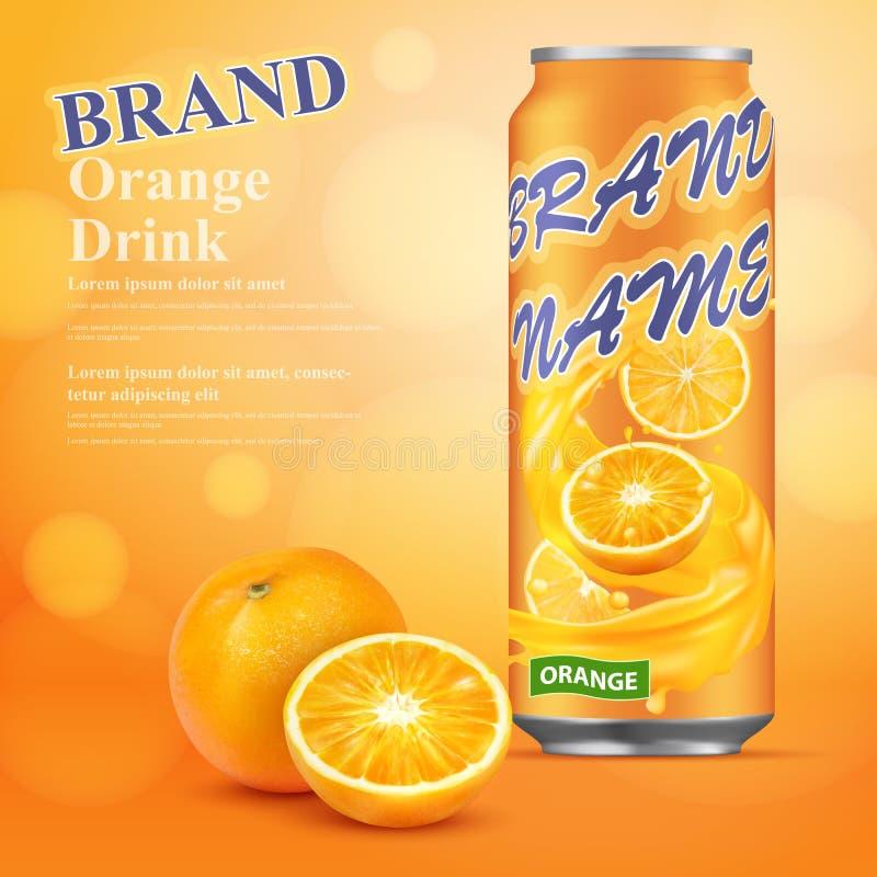 Orangensaft, der realistisches Design annonciert Abbildung des Vektor 3d lizenzfreie abbildung