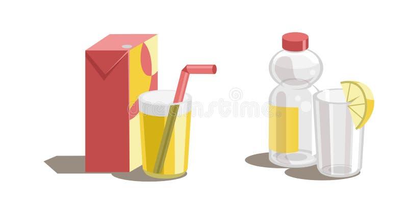Orangensaft im Glas, in arton Kasten und in der Plastikflasche mit Wasser und einem Glas lizenzfreie abbildung