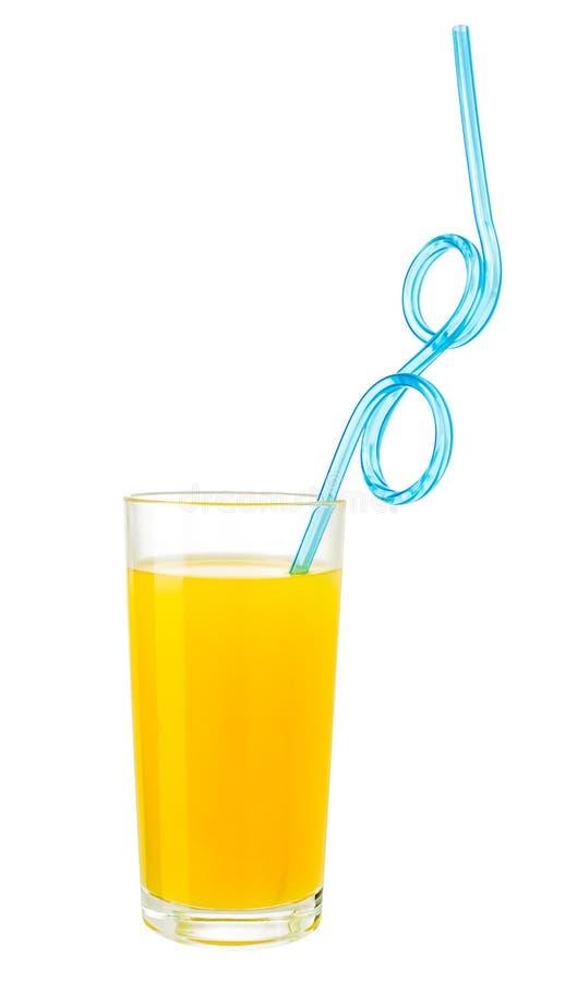 Orangensaft mit Getränkstroh im Glas lokalisierte w-Beschneidungspfad stockbilder