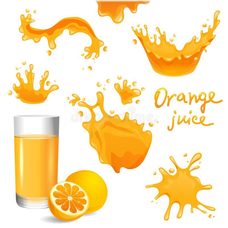 Orangensaft spritzt lizenzfreie abbildung