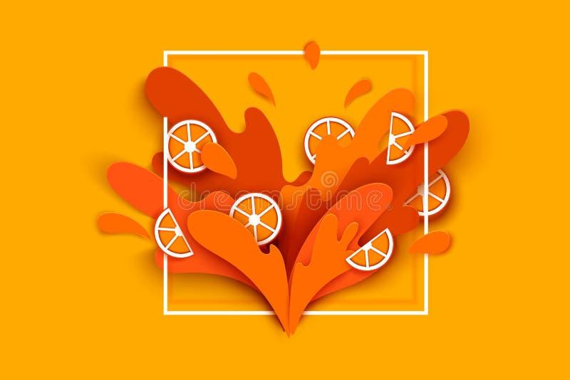 Orangensaft spritzt und fällt in eine geschnittene Papierart orange Scheiben und Papierscheiben weiche Schatten und reiches helle lizenzfreie abbildung