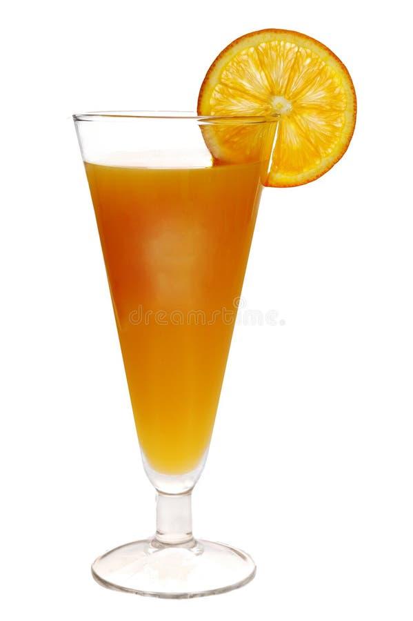 Orangensaftgetränk mit orange Scheibe auf Seite stockbild