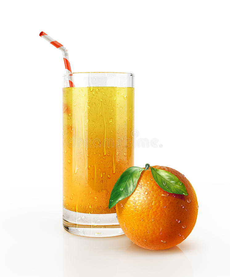 Orangensaftglas mit Stroh und einer Frucht auf dem Boden. stockfotos