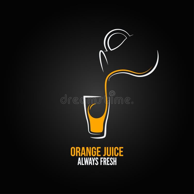 Orangensaftglasflaschenmenüdesignhintergrund lizenzfreie abbildung