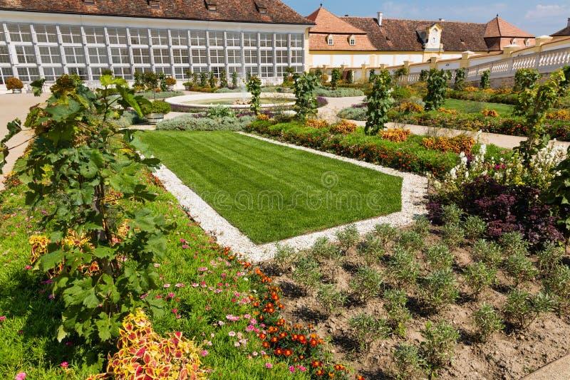 Orangery with adjacent greenhouse at Schloss Hof, Austria. Orangery with adjacent greenhouse at castle Schloss Hof, Lower Austria royalty free stock image