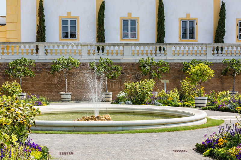 Orangery with adjacent greenhouse at Schloss Hof, Austria. Orangery with adjacent greenhouse at Schloss Hof in Lower Austria royalty free stock photo