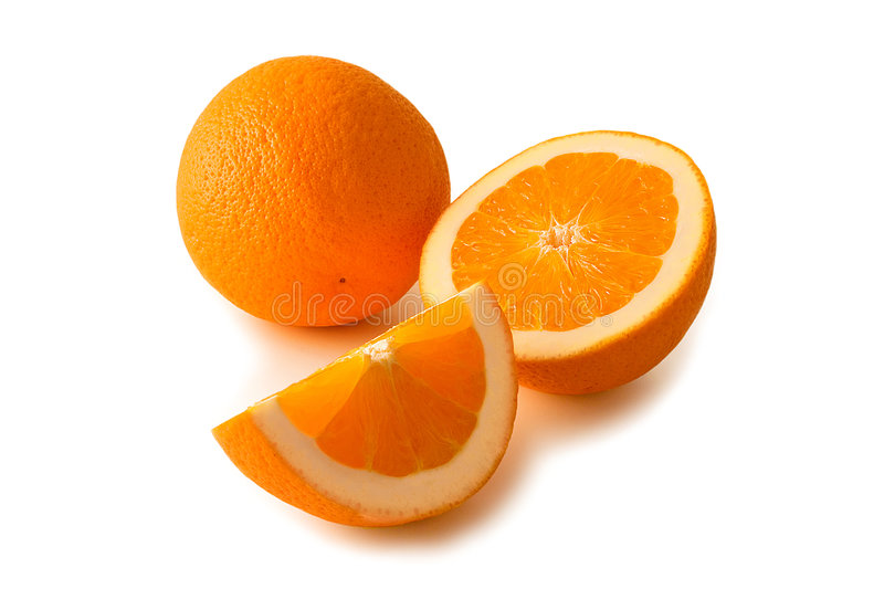 Oranges. Whole and cut oranges