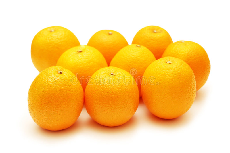 Download Oranges Arranged In Rows And Isolated On White Stock Image - Image: 2110405