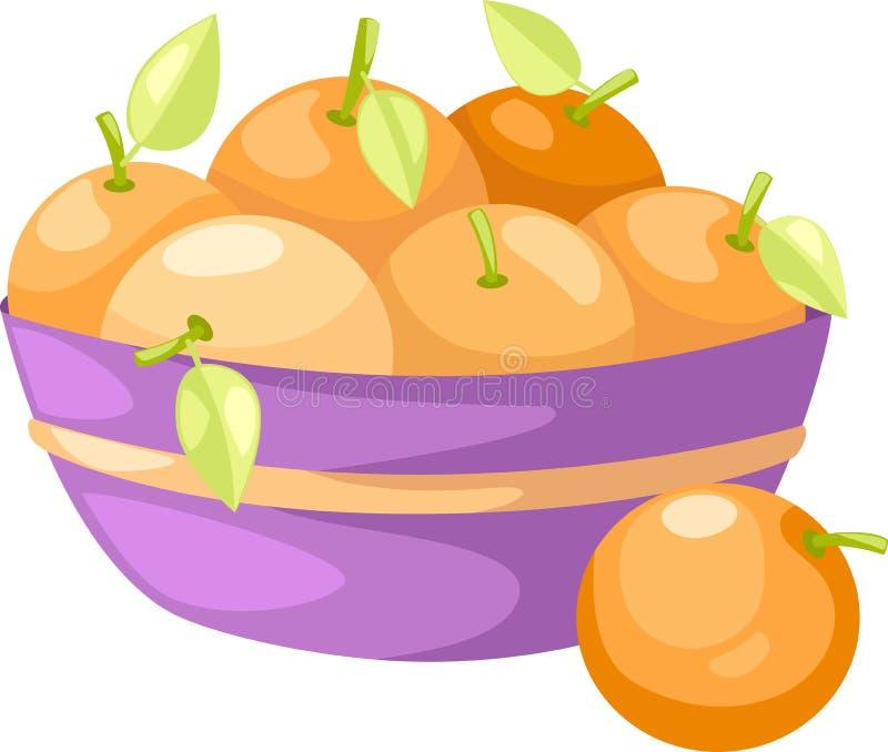 Oranges in basket vector. Oranges in basket illustration of isolated on white background stock illustration