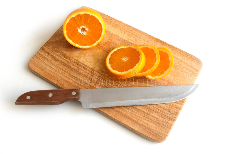 Oranges on a board 1 stock photography