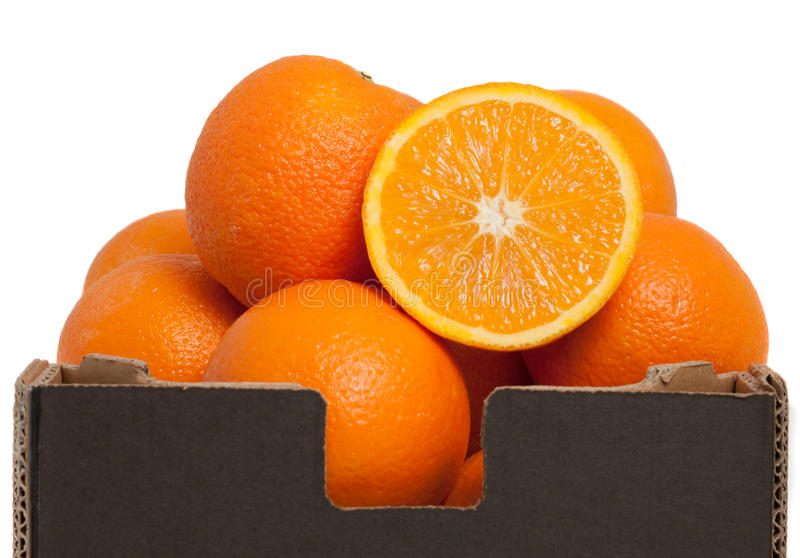 Oranges In A Brown Box Stock Image. Image Of Healthy