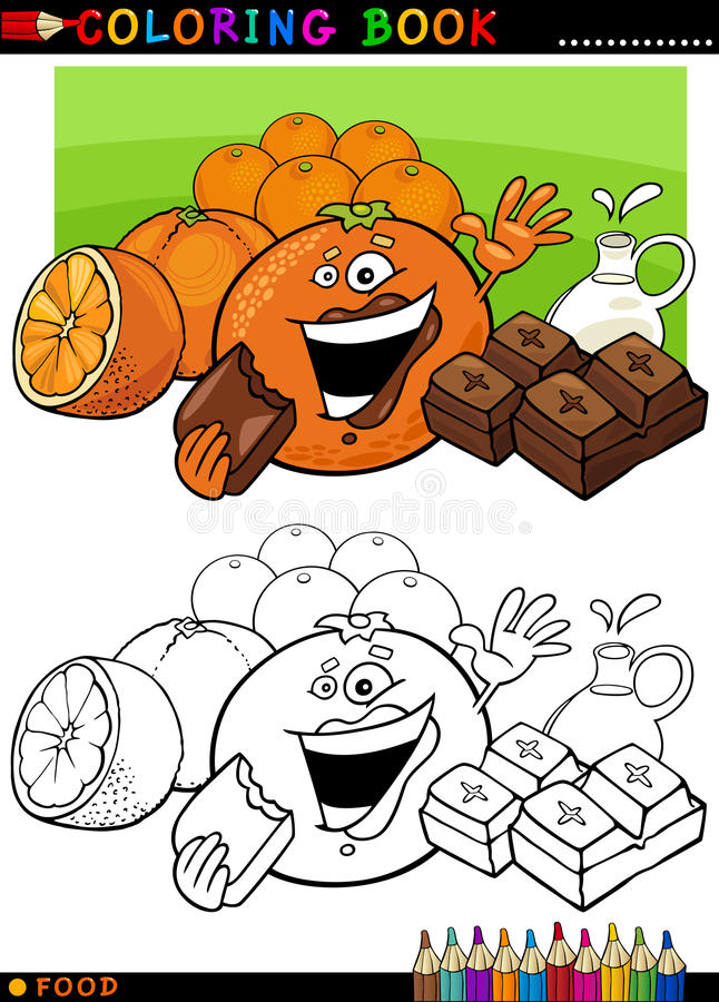 Oranges and chocolate for coloring. Coloring Book or Page Cartoon Illustration of Funny Food Characters Oranges and Chocolate Pieces for Children Education vector illustration