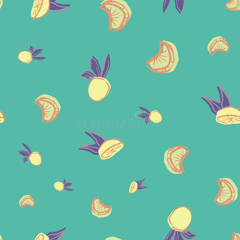 Oranges citrus seamless repeat pattern design. Perfect for kitchen, restaurant, packaging and textile design vector illustration