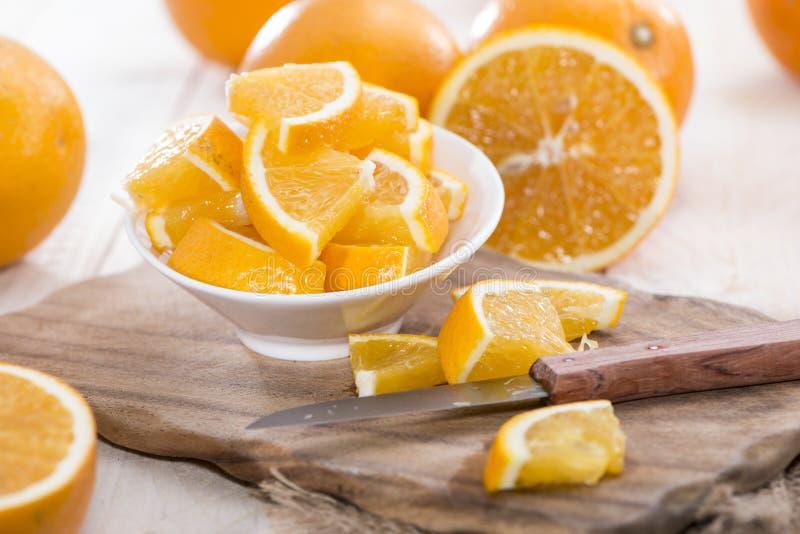 Oranges coupées en tranches images libres de droits