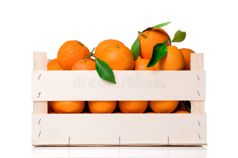 Oranges crate stock image