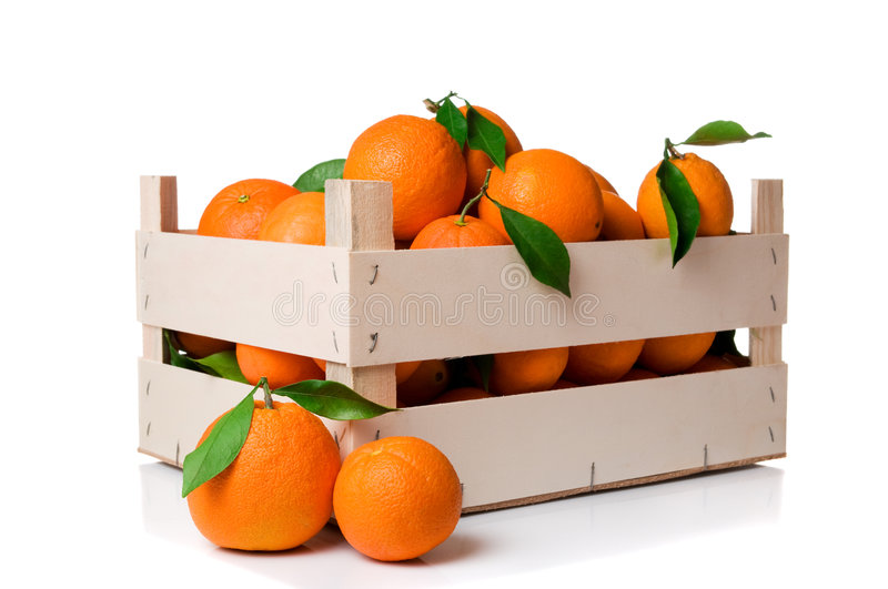 Oranges crate royalty free stock photography