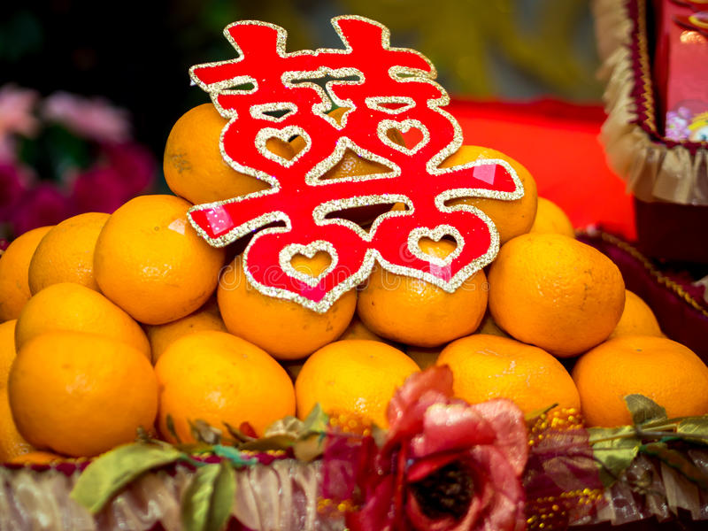 Oranges with Double Happiness Chinese Character (Xuangxi) stock photography