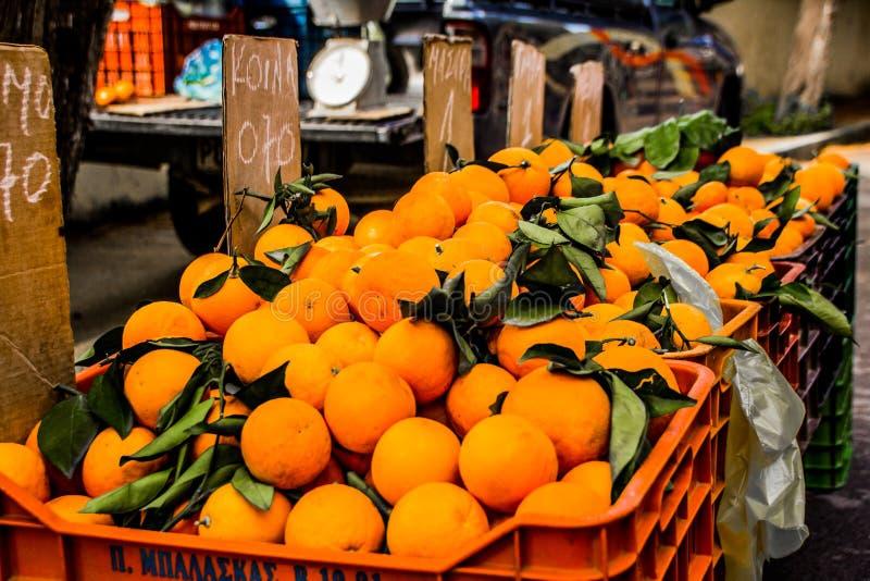 Oranges du marché de Rhodes photos libres de droits