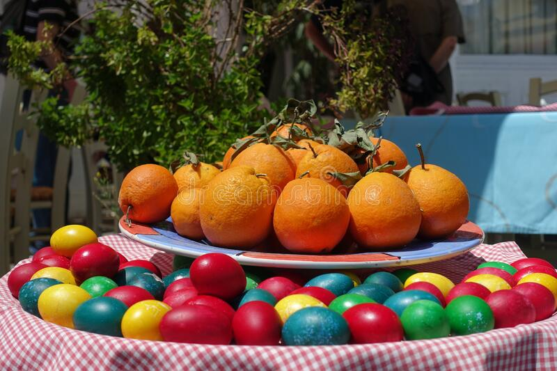 Oranges and easter eggs stock photography