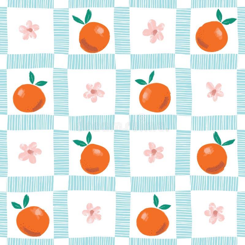 Oranges, fleurs et feuilles abstraites colorées peintes à la main sur le fond de plaid Les fruits d'été dirigent le modèle sans c illustration stock