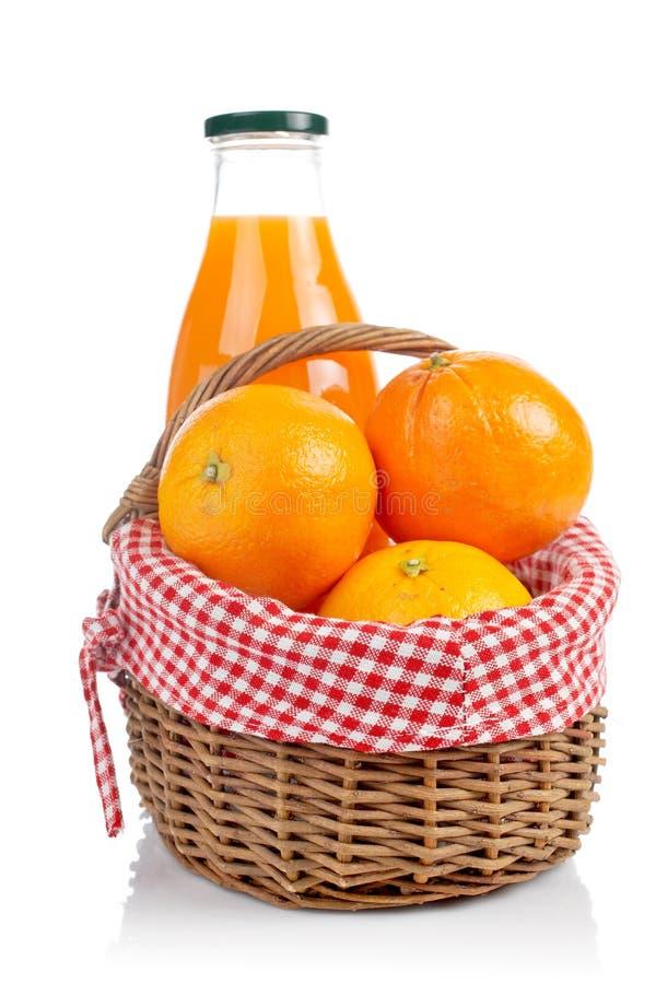 Oranges and fresh juice royalty free stock photo