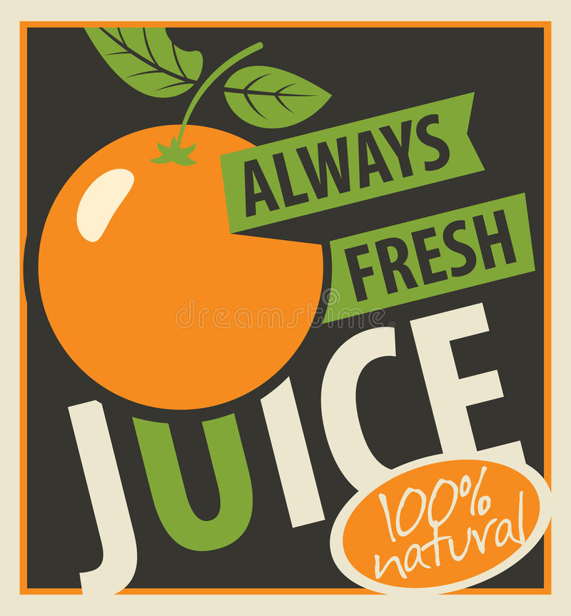 Oranges and always fresh juices royalty free illustration
