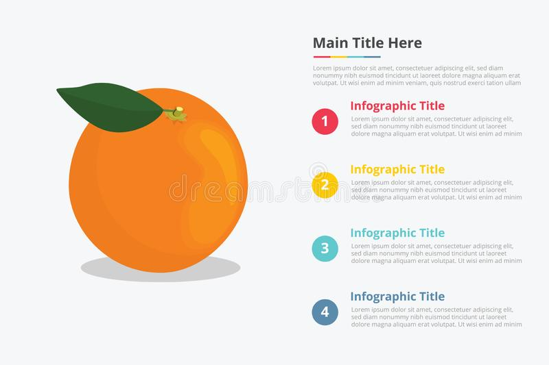 Oranges fruit infographics with some point title description for information template -. Illustration stock illustration