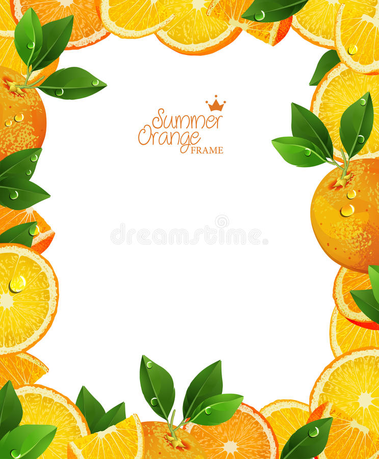 Oranges fruits with green leaves, slices and juice. Frame. Realistic vector illustration. Fresh ripe oranges stock illustration