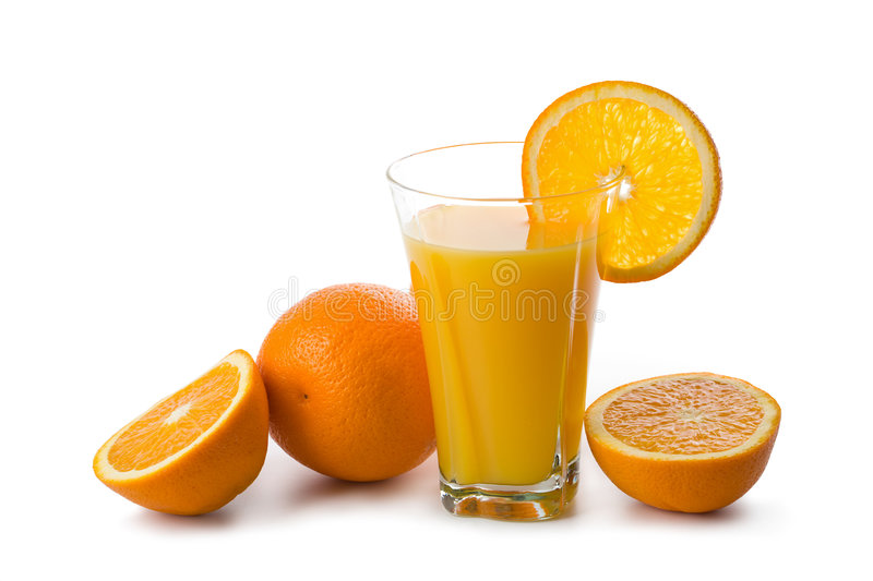 Oranges and glass of orange juice isolated stock images