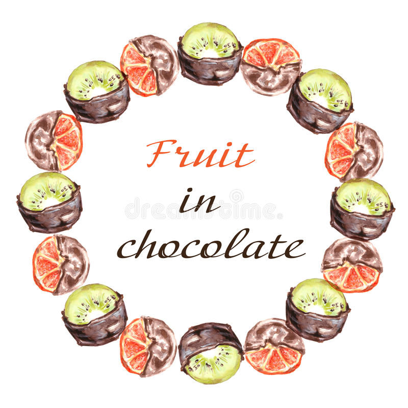 Oranges and kiwi fruit in chocolate. Frame on a white background. Watercolor illustration vector illustration