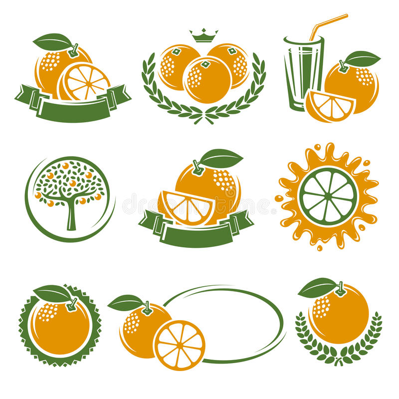 Oranges labels and elements set. Vector stock illustration