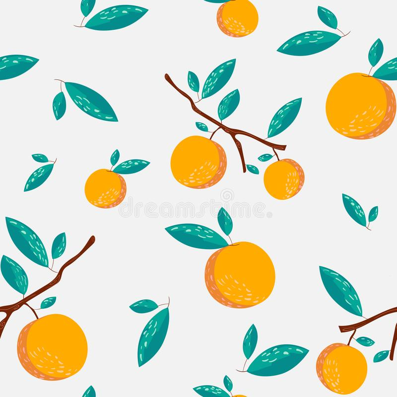 Oranges and leaves seamless pattern. Oranges on white background royalty free illustration