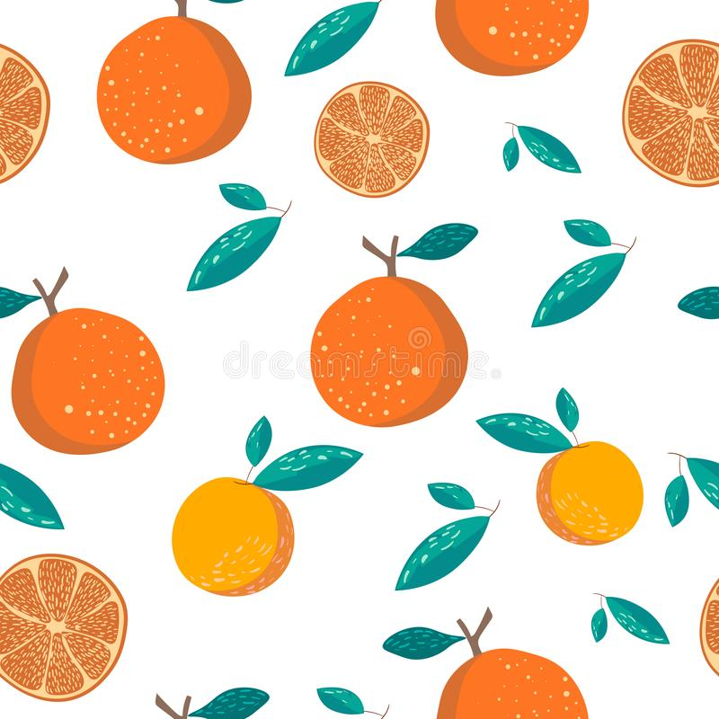 Oranges and leaves seamless pattern. Oranges on white background stock illustration