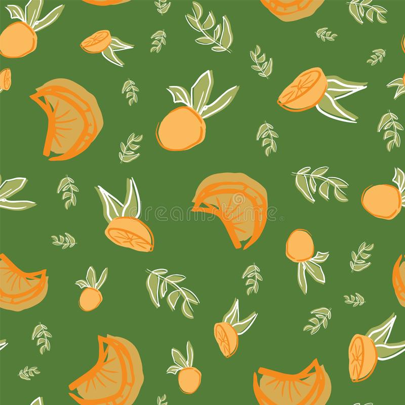 Oranges with leaves seamless repeat pattern design. Great for food illustration or textile design vector illustration