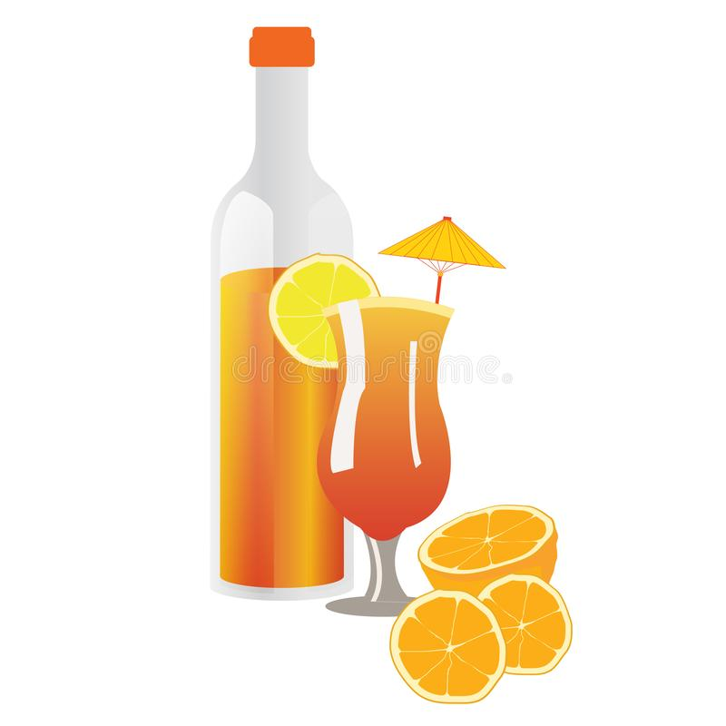 Oranges and orange juice in glass and bottle. Very tasty illustration for kids books and games stock illustration