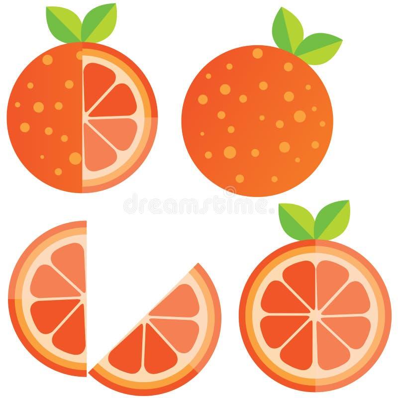 Oranges orange slice, half cut orange and front view of cut ripe orange. Set of vector illustration. stock illustration