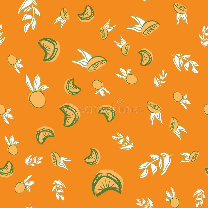 Oranges orange vector seamless repeat pattern. Perfect for food illustration, background and textile design stock illustration