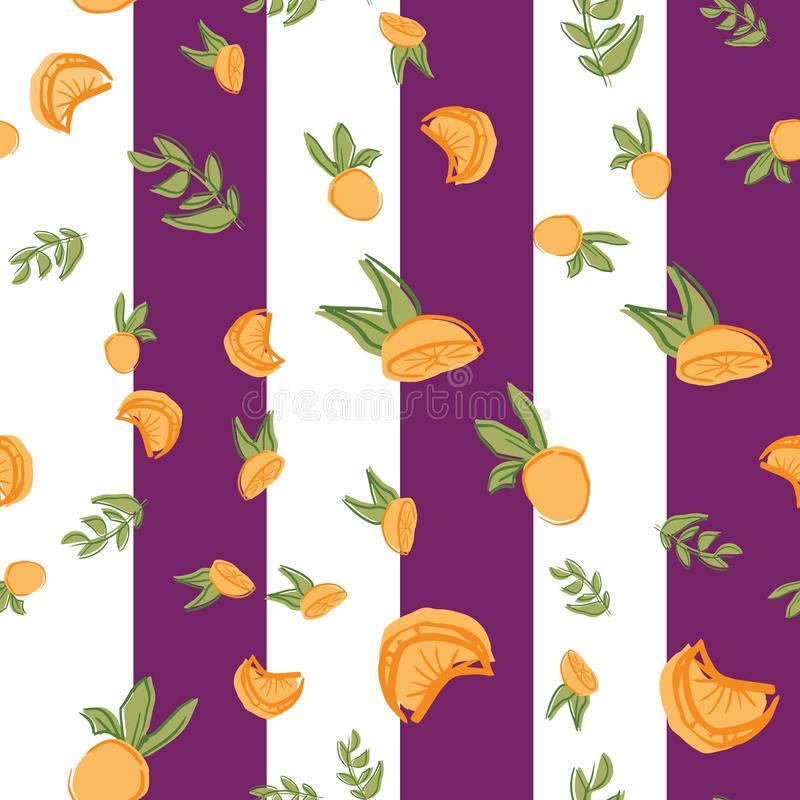 Oranges orange vector seamless repeat pattern. Perfect for food illustration, background and textile design royalty free illustration