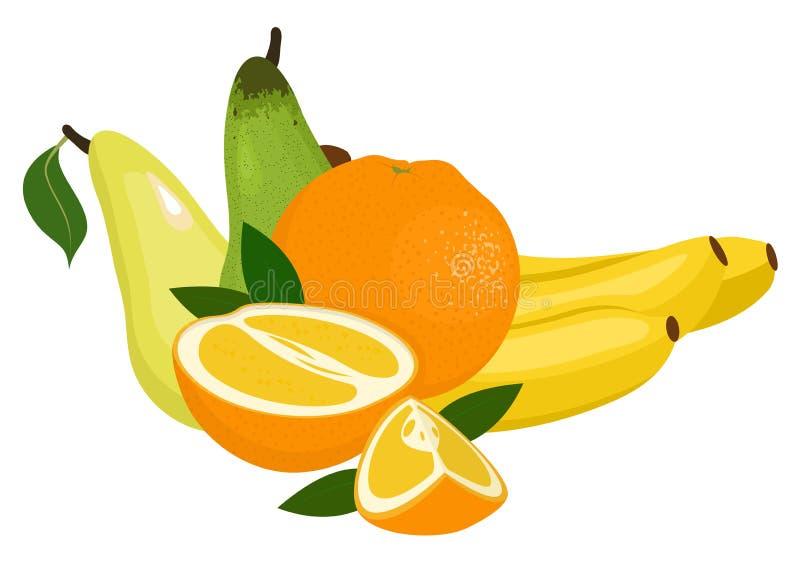 Oranges, pear and bananas. Raster illustration on a white background. Oranges, pear and bananas. Raster illustration isolated on a white background vector illustration