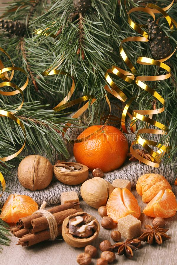 Still life composition formed with pine branches and New Year sweets. Oranges and pine branches form flat still life background for Christmas and New Year stock photography