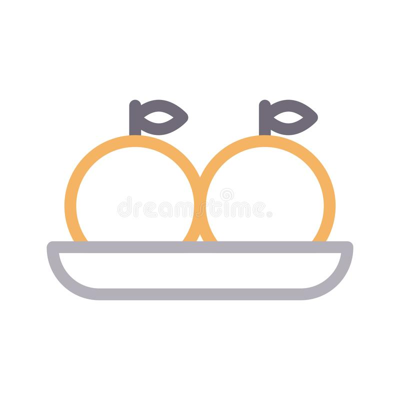 Oranges plate thin color line vector icon. Oranges plate vector icon. Elements for mobile concept and web apps. Thin line icons for website design and vector illustration
