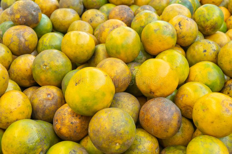 The oranges prepared in the market. For texture background royalty free stock photos