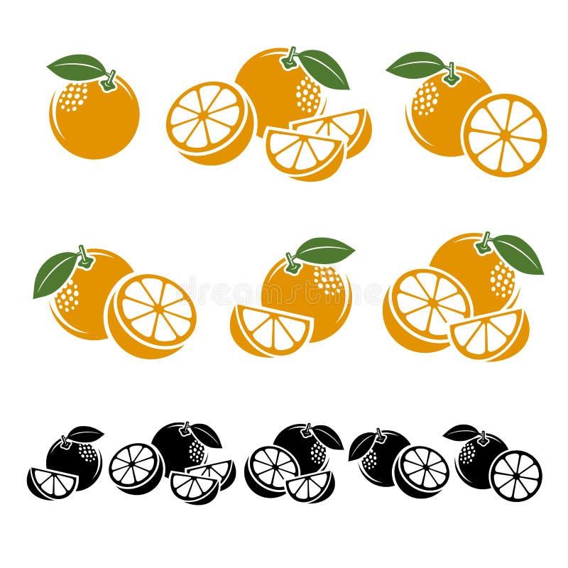 Oranges réglées Vecteur illustration libre de droits