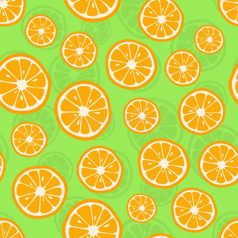 Oranges seamless pattern. Citrus background with slices of oranges. Vector illustration royalty free illustration